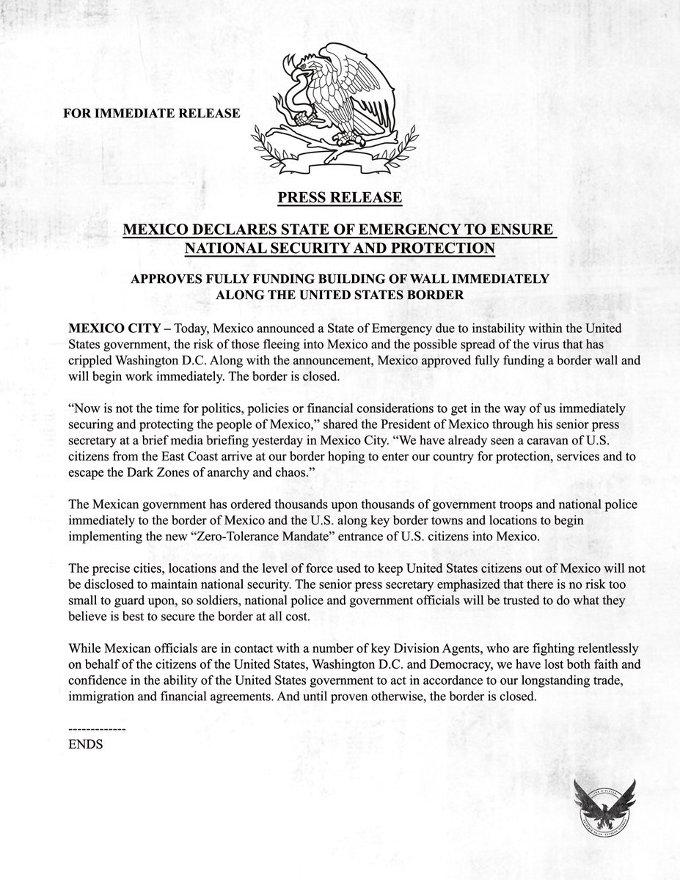 The Division 2: México declara estado de emergencia y así respondieron en Estados Unidos