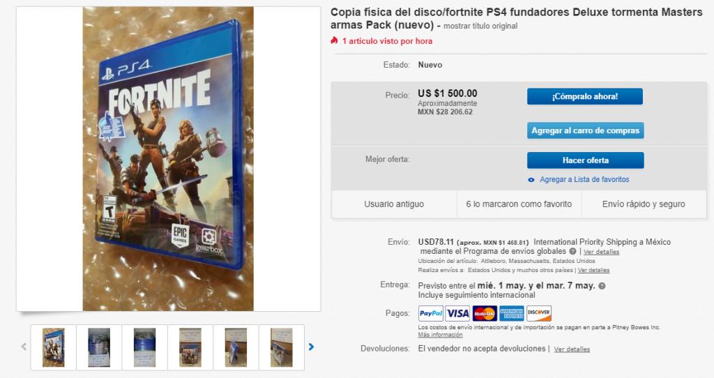 Este es el precio que está alcanzando Fortnite en eBay