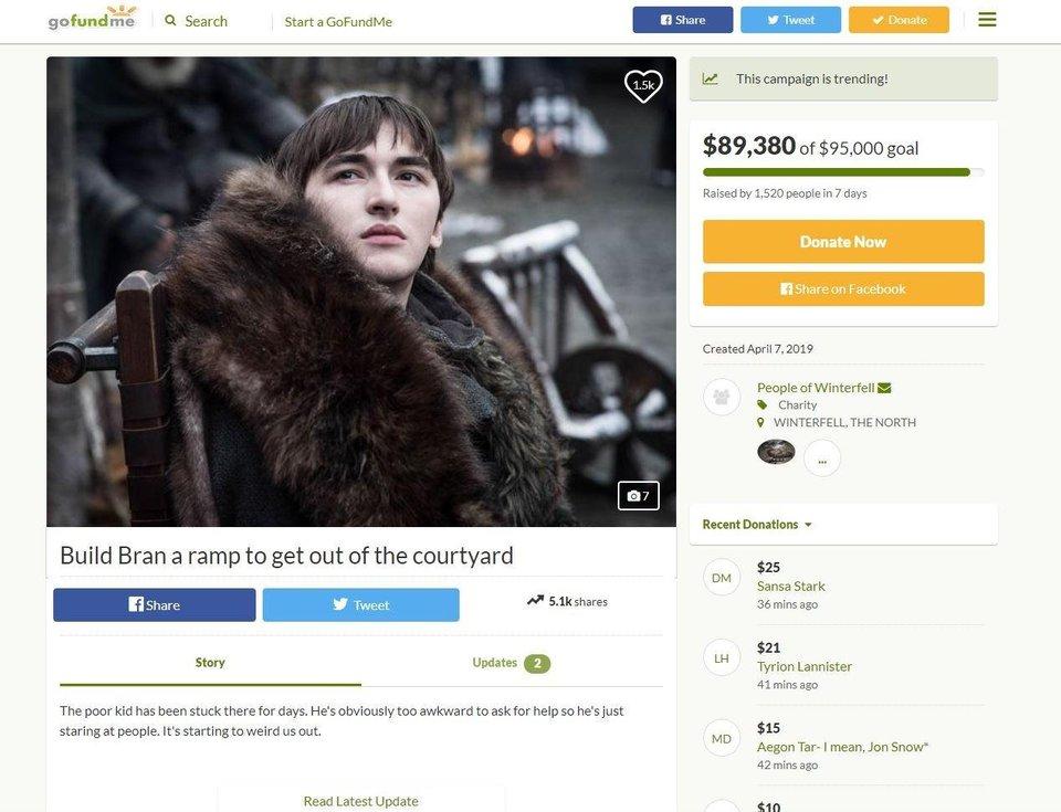 Bran Necesita unas rampas en Game Of Thrones