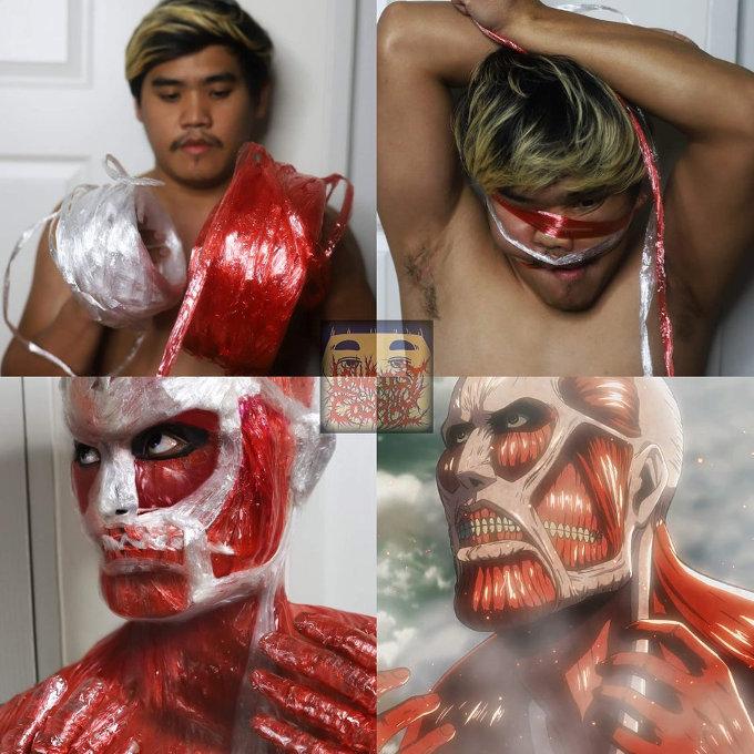 Attack on Titan: Crean gracioso cosplay del anime con muy bajo presupuesto