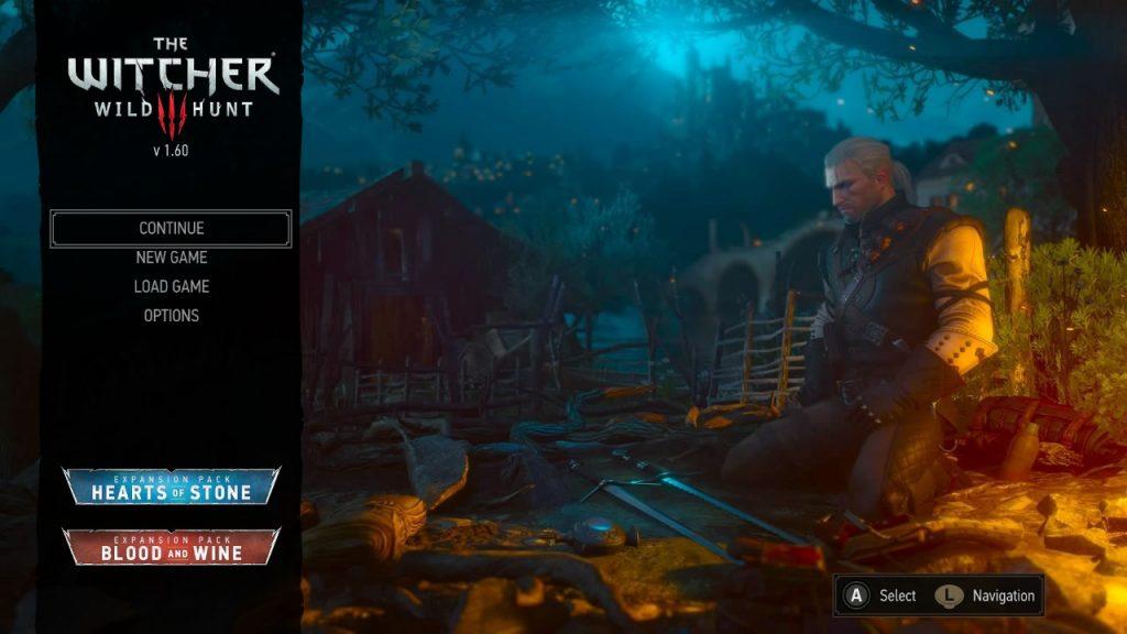 Menú principal de The Witcher 3: Wild Hunt