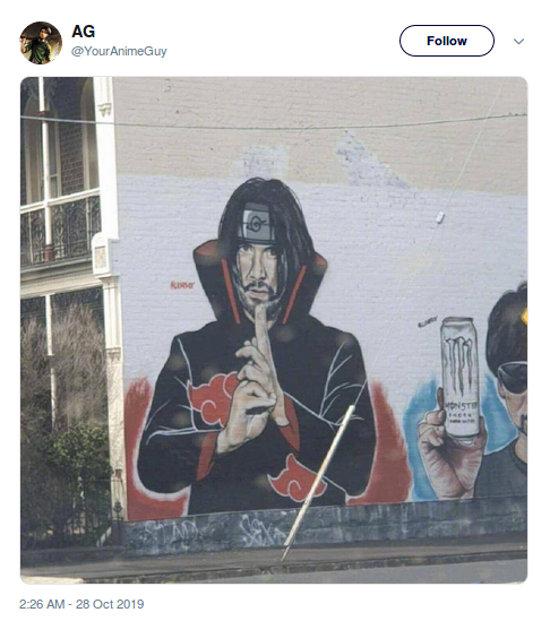 El meme de Akatsuki Keanu Reeves ahora es arte callejero