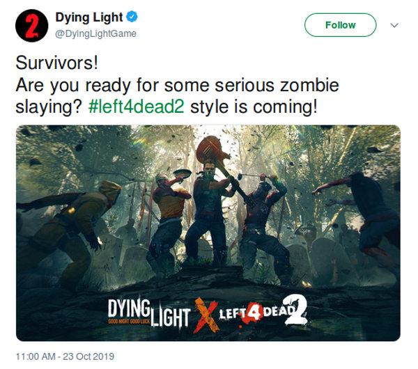 Dying Light y Left 4 Dead 2 tendrán colaboración