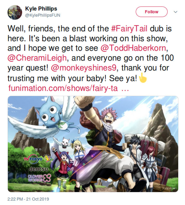 Actor quiere ver anime de Fairy Tail: 100 Years Quest
