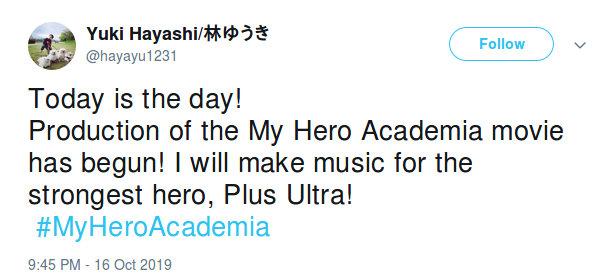 El trabajo de musicalizar la película de My Hero Academia ya inició