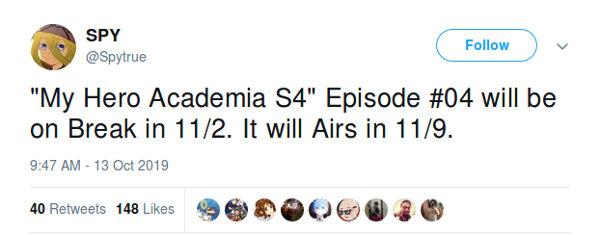 La Temporada 4 de My Hero Academia se tomará un pequeño descanso