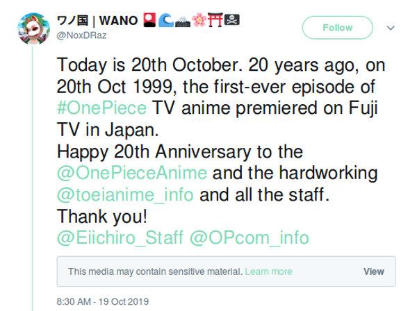 El anime de One Piece cumple 20 años y los fans lo celebran