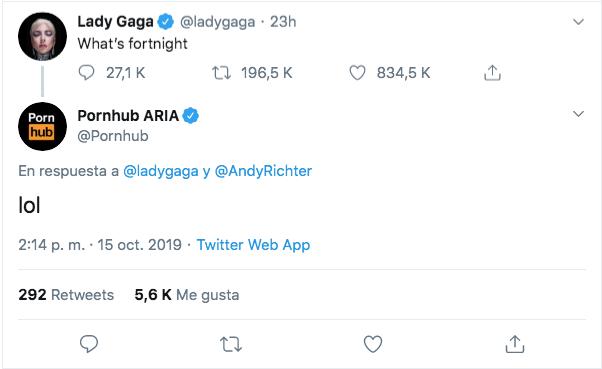 Hasta Pornhub se metió en la plática de Lady Gaga y Fortnite