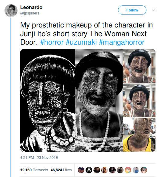 Un aterrador monstruo de Junji Ito se volvió real con un cosplay