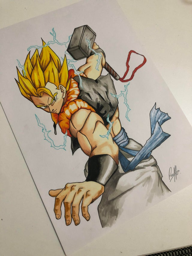 Dragon Ball: Gogeta es digno de levantar el martillo de Thor en este arte