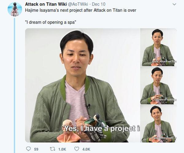 Creador de Attack on Titan revela qué hará cuando termine la serie