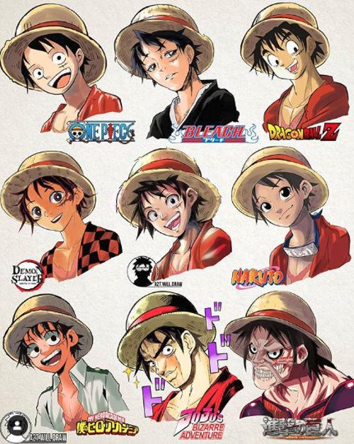 Así se vería Luffy de One Piece en otros anime