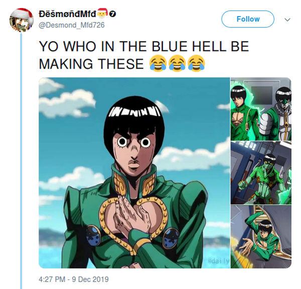 Rock Lee de Naruto hace un gran crossover en JoJo's