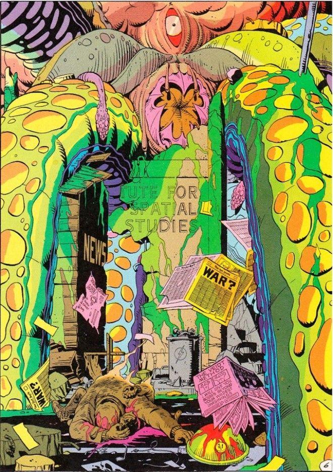 Panel de Watchmen sobre el calamar gigante.