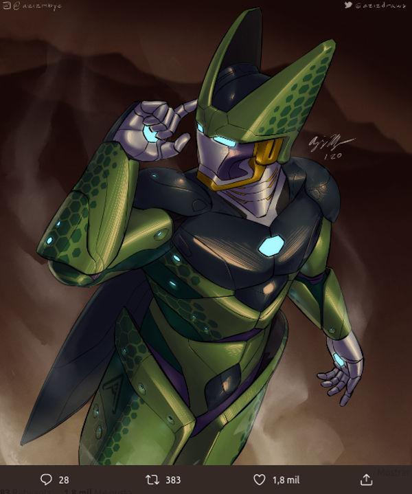 Así imagina un fan a Cell de Dragon Ball Z como armadura de Iron Man