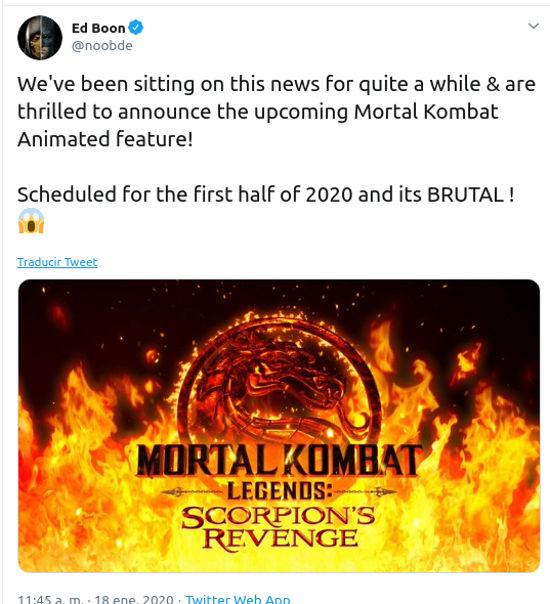 La nueva película de Mortal Kombat será BRUTAL, dice cocreador de los juegos