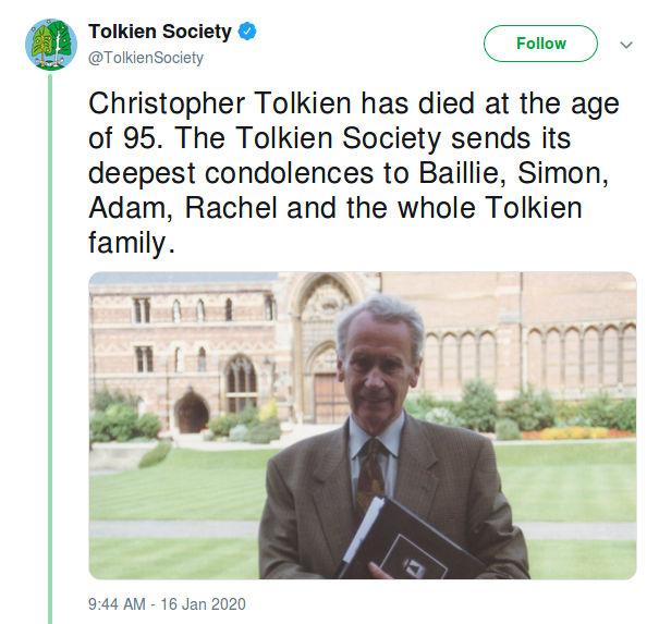 Lord of the Rings: Muere Christopher Tolkien, hijo de J.R.R. y poseedor de los derechos