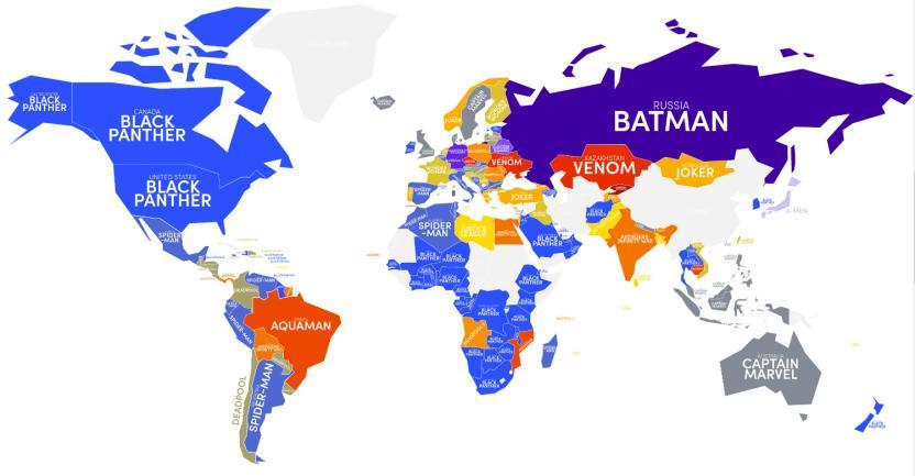 Mapa de las películas de superhéroes más populares