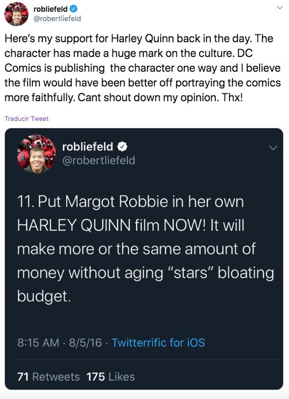 Declaraciones de Rob Liefeld en Twitter