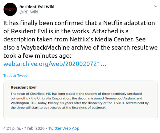 Se revela la sinopsis de la serie de Resident Evil de Netflix