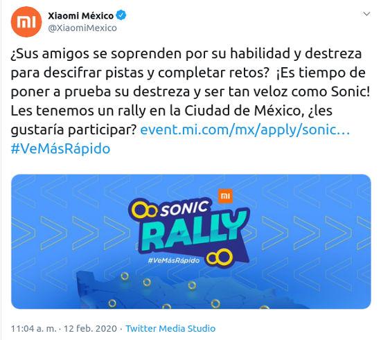 Xiaomi y Sonic: La Película te invitan al Sonic Rally en México