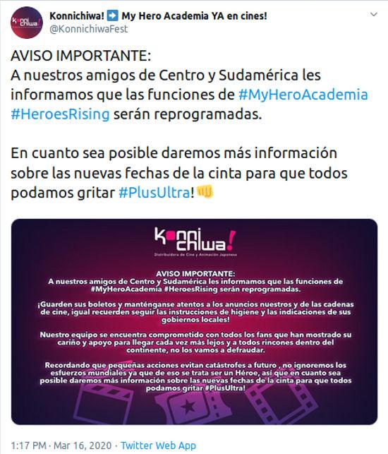My Hero Academia: Heroes Rising retrasada por coronavirus en Latinoamérica