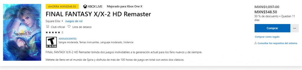 Videojuegos en Xbox Live