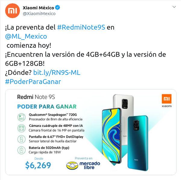 Xiaomi anuncia el Redmi Note 9S para México
