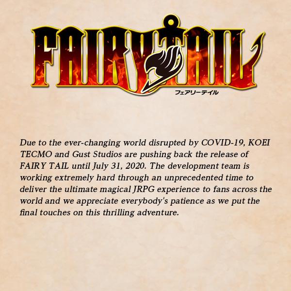 El juego de Fairy Tail se retrasa por el coronavirus