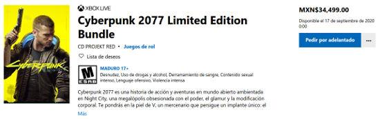 Precio de Xbox One X de Cyberpunk 2077 aterra a los jugadores