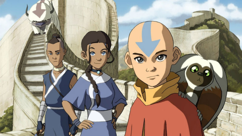 Soka, Katara, Aang, Momo y Toph de Avatar
