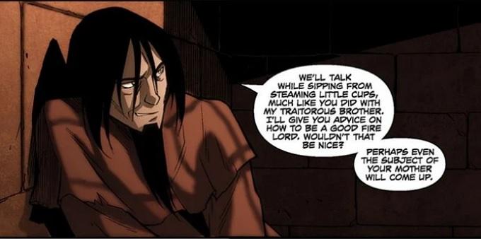 Imagen del señor del fuego Ozai como prisionero en los comics de Avatar