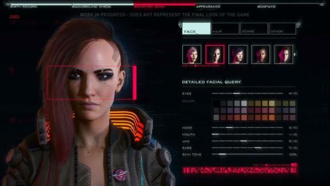 Imagen de Personalizacion de personaje de Cyberpunk 2077
