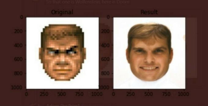 Imagen de una interpretación realista del rostro del protagonista de Doom