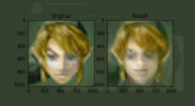 Rostro realista de Link del videojuego The Legend of Zelda