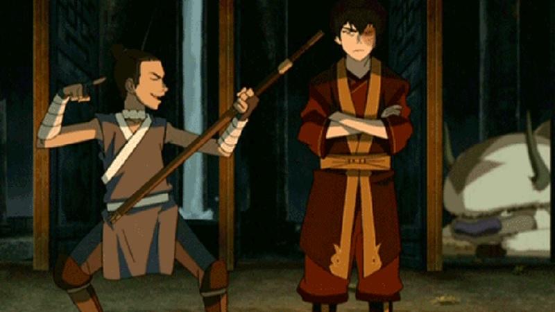 Sokka molesta a Zuko en Avatar