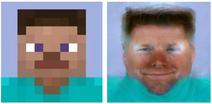 Steve del videojuego Minecraft con un Rostro realista