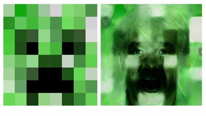 Rostro realista de un Creeper del videojuego Minecraft.
