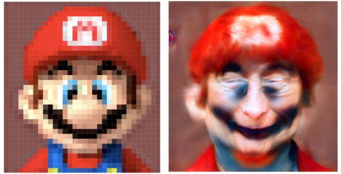 Imagen perturbadora del rostro realista del videojuego Mario.