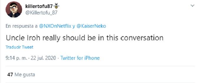 Comentario de Twitter sobre el tio Iroh en Avatar