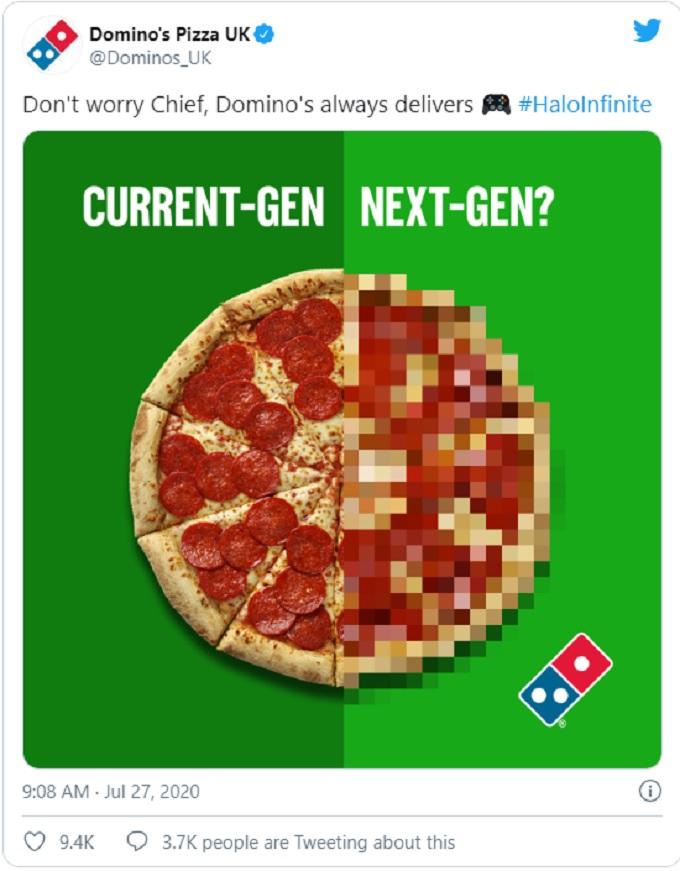 Meme de Dominos Pizza burlandose de Halo Infinite