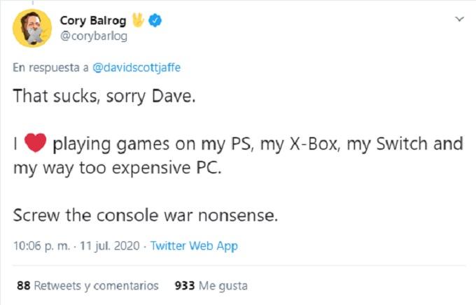 Comentario de Cory Barlog sobre le ataque al creador de God of War.