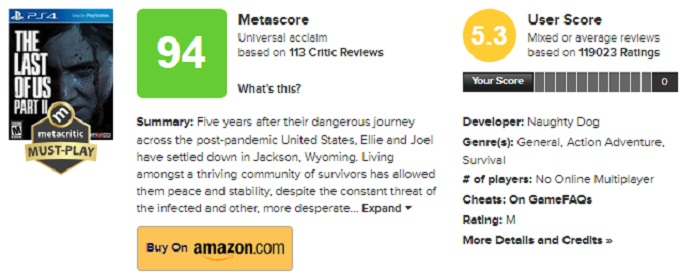 Imagen de The Last of Us en Metacritic