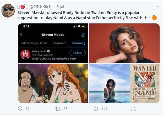 Emily Rudd podría ser Nami en la serie live-action de One Piece