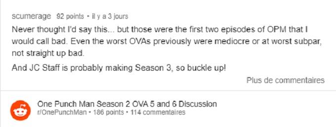 Comentarios de los Ovas de One Punch Man