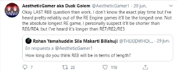 Tweet sobre la duración de Resident Evil 8