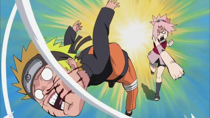 Sakura golpea a Naruto