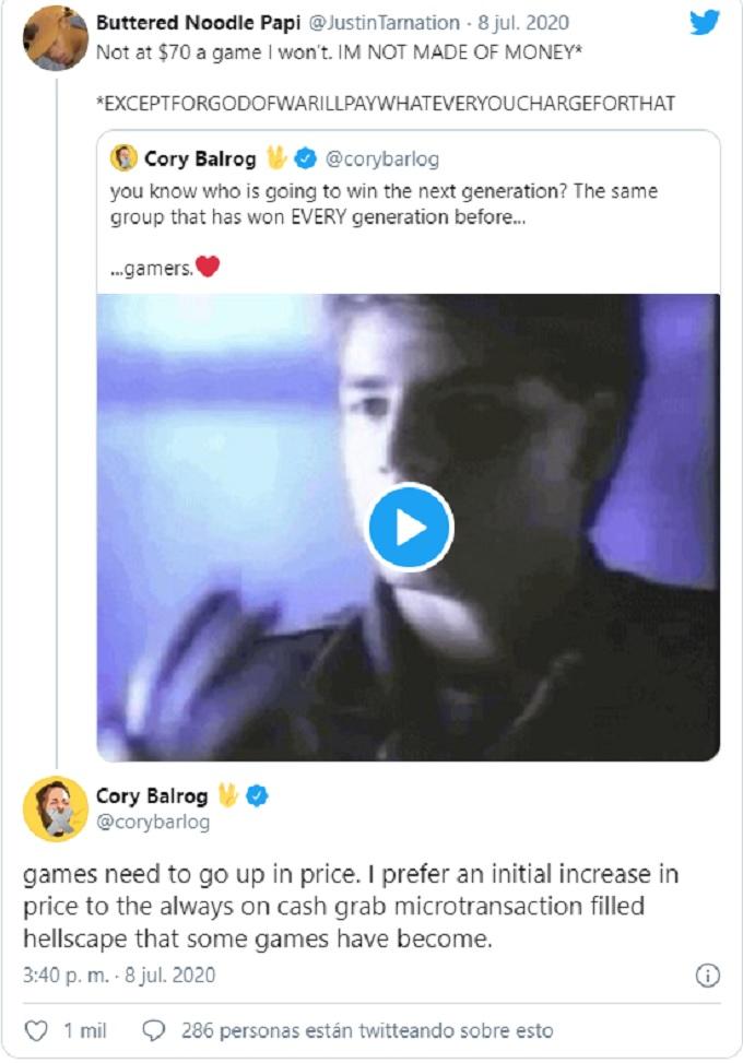 Tweet de Cory Balrog defendiendo el aumento en los juegos