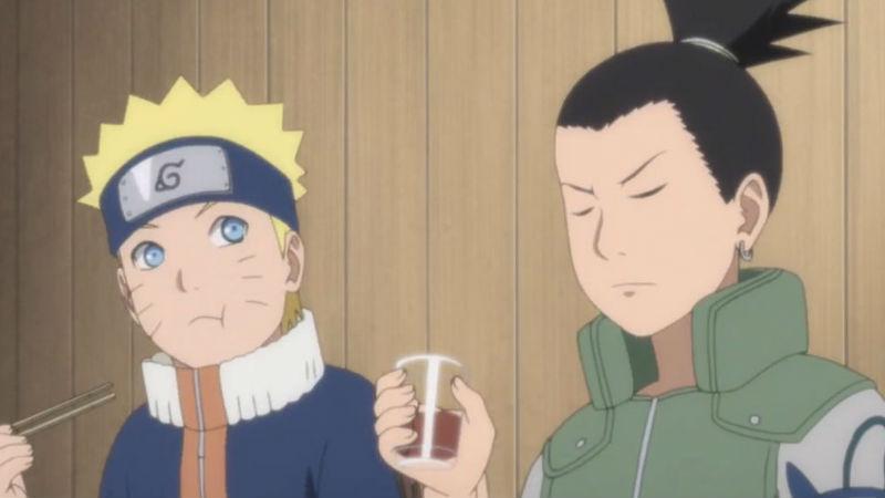 Naruto comiendo con Shikamaru
