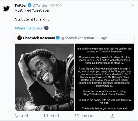 Black Panther: El mensaje en la cuenta de Chadwick Boseman rompe récords